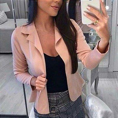 Blazer maravilhoso em neoprene na cor rosa claro