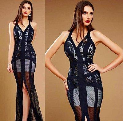 Vestido de festa longo Black Lace