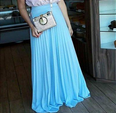 Saia plissada longa - Azul claro