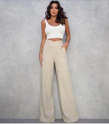 Calça pantalona de linho com detalhe em V  - Crú