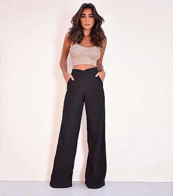 Calça pantalona de linho com detalhe em V - Preta