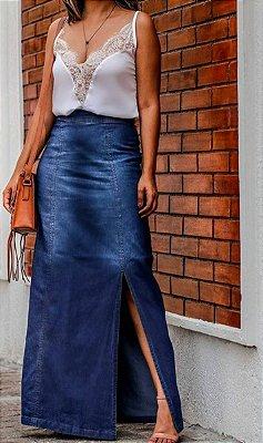 Saia jeans longa com fenda