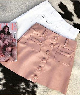 Saia botões couro eco - rosa