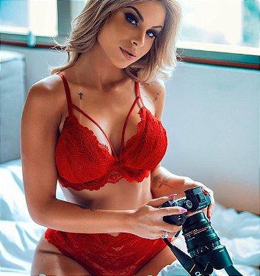 Conjunto lingerie super sensual RED PASSION com calcinha detalhes em cetim