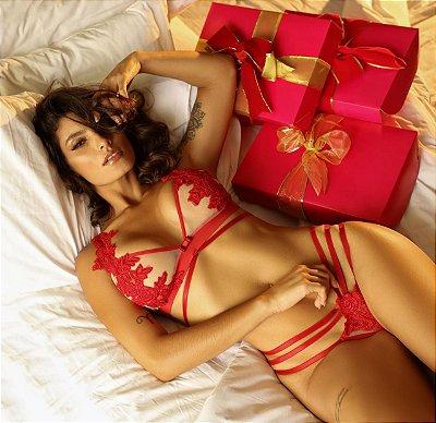 Conjunto lingerie Ilusion vermelho com lindo sutiã e calcinha fio