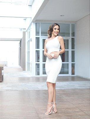 Vestido em tricot  modal com abertura lateral - off white