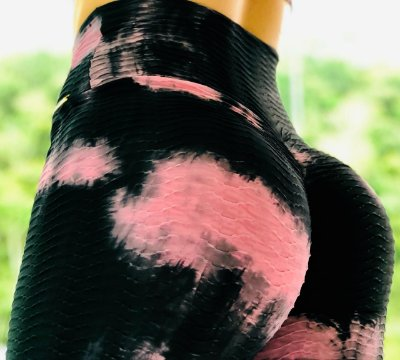Calça legging fitness tye dye preta e rosê - tamanho único