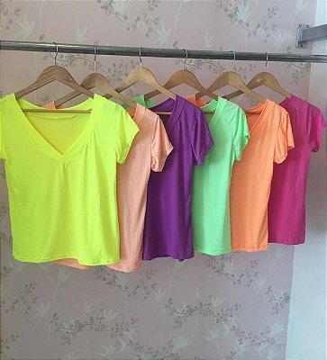 T-shirt podrinha em poliamida - Amarelo Neon