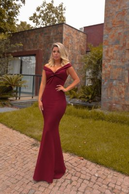 Vestido longo em malha crepe Lorena - Marsala