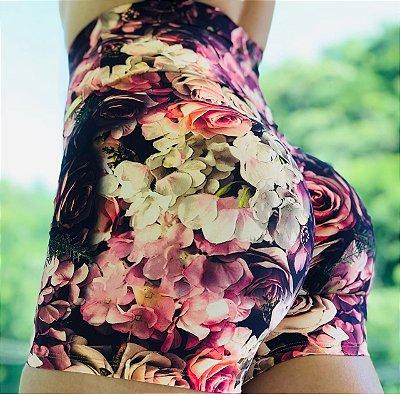 Shorts fitness levanta bumbum estampa flowers - Tamanho único