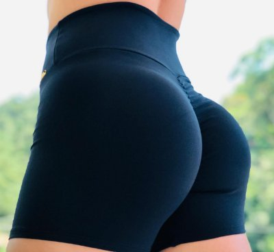 Shorts fitness levanta bumbum Black total- Tamanho único