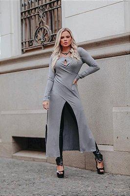 Maxi blusa transpassada - cor cinza mescla