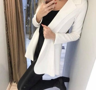 Maxi blazer em neoprene - Off white