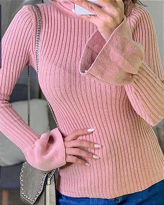 Blusa manga longa em tricot canelado com manga flare - Rosê
