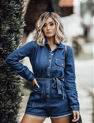 Macaquinho jeans manga longa