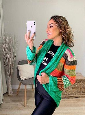 Casaco de tricot color mix - Verde