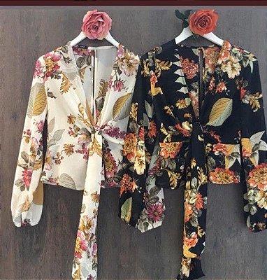 Blusa em crepe Elegance - Estampa florida