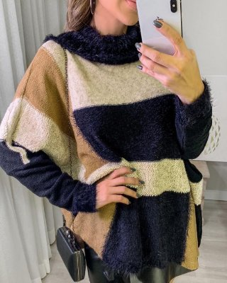 Poncho tricot em fio mousse - Bege