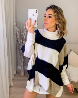 Poncho tricot em fio mousse - Off white