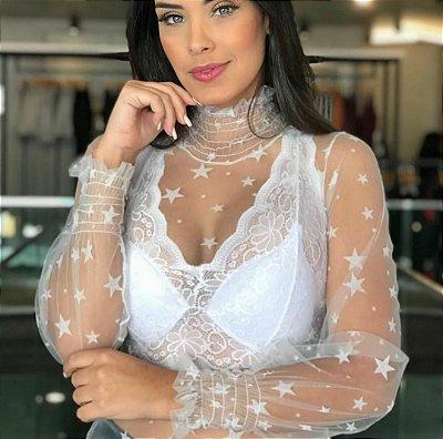 Body de tule com estrelas - Romantic - Branco