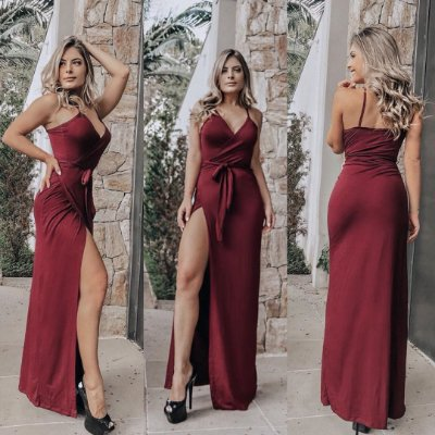 Vestido longo envelope - Marsala