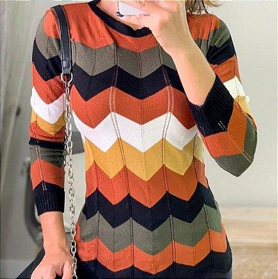 Blusa manga longa em tricot - Padronagem chevron