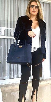 Bolsa Love com fivela dourada - Azul marinho