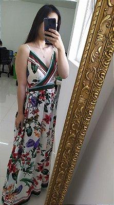 Vestido longo com estampa floral - Off white - Tamanho P