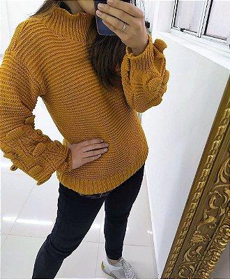 Blusão de tricot com manga bufante - Mostarda