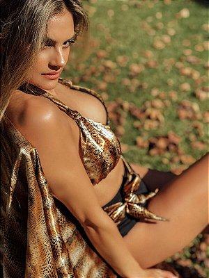 Biquíni cortininha + hot pants - Animal