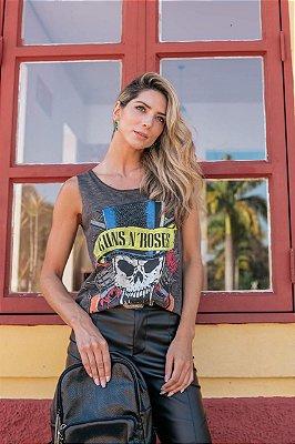 Regata com pedraria - Coleção Rock and Roll - Guns n`roses - Azul