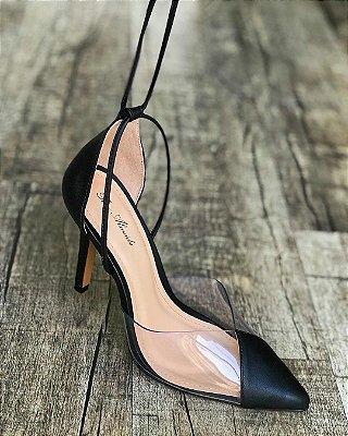 Scarpin transparente com amarração - Luna - Preto