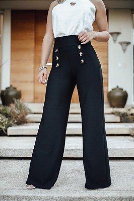 Calça pantalona em malha crepe com botões frontais - Lina