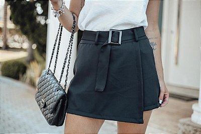 Short saia alfaiataria - Preto
