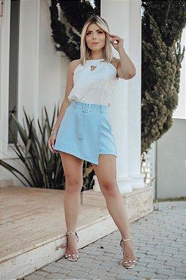 Short saia alfaiataria - Azul bebê