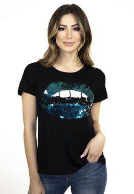 T-shirt bordada à mão - Lips Azul