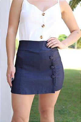 Short saia com botões forrados - Azul jeans