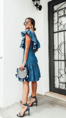 Vestido jeans Mayra - lavagem clara