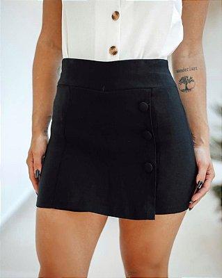 Short saia com botões forrados - Preta