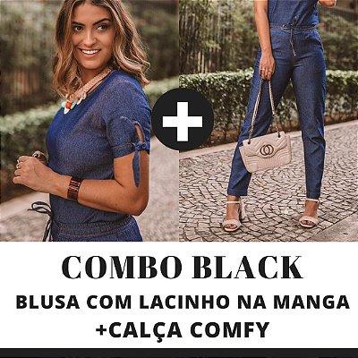 COMBO BLACK - Blusa manga com lacinho + Calça Comfy jeans