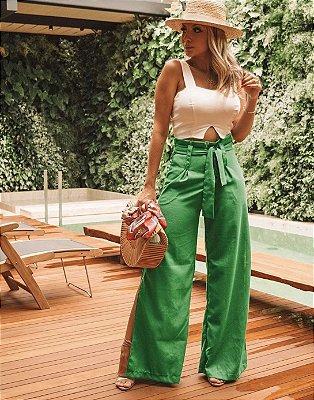 Calça pantalona de linho com faixa na cintura - Verde