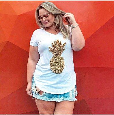 T-shirt bordada à mão até o tamanho Plus Size - Abacaxi