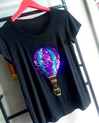 T-shirt bordada à mão até o tamanho Plus Size - Balão