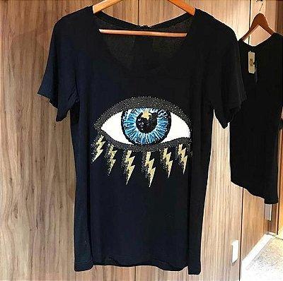 T-shirt bordada à mão até o tamanho Plus Size - Olho Grego