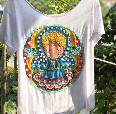 T-shirt  bordada à mão até o tamanho Plus Size - Anjo da guarda