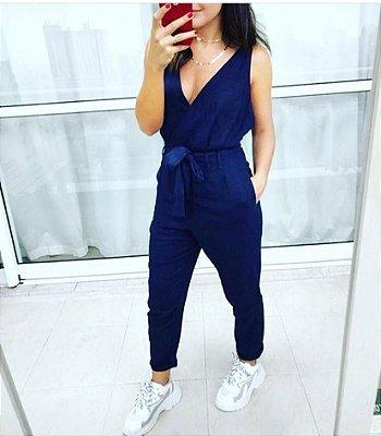Macacão Style em linhão - Azul Marinho