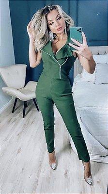 Macacão perfecto em bengaline - Verde