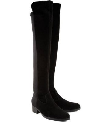 Bota salto baixo over the knee neopreme black