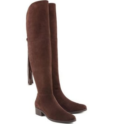 Bota salto baixo over the knee cordas brown