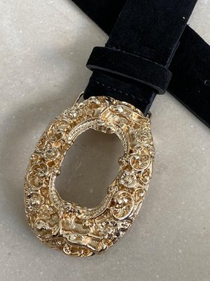 Cinto couro camurça preto com fivela dourada brocada - Angel